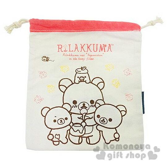 〔小禮堂〕懶懶熊 帆布束口袋《白.朋友.花.吃蜂蜜.紅邊》
