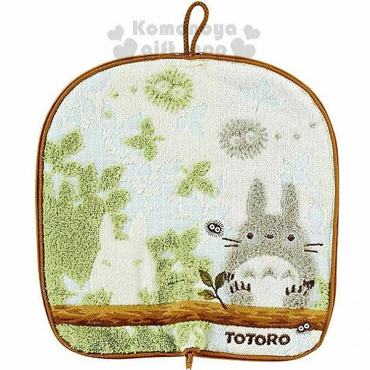 〔小禮堂〕宮崎駿Totoro龍貓 多功能毛巾布水壺袋《藍.坐姿》可裝500ml水瓶
