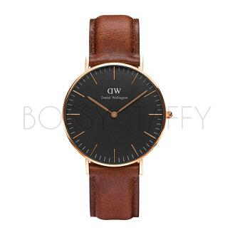 DanielWellington DW00100136 Classic Black 咖啡色皮革腕錶 金框 36mm