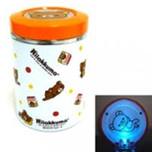 權世界@汽車用品 日本進口 Rilakkuma 懶懶熊 拉拉熊 圖案 電池式LED藍光 煙灰缸(橘) R94