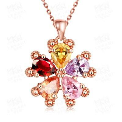 ~玫瑰金純銀項鍊 水晶吊墜~ 繽紛花朵七夕情人節生日 女飾品73br11~ ~~米蘭 ~