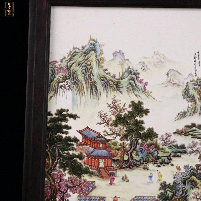 新品景德鎮瓷板畫江南秀色圖仿古做舊實木邊框客廳裝飾掛屏畫