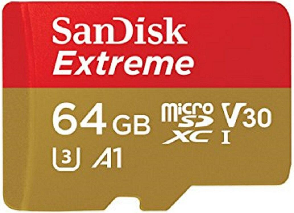 SanDisk Extreme 64GB microSDXC 100MB/s A1 Class10 C10 U3 UHS-I 4K V30 667X 64G microSD micro SD SDXC Flash Memory Card SDSQXAF-064G 0