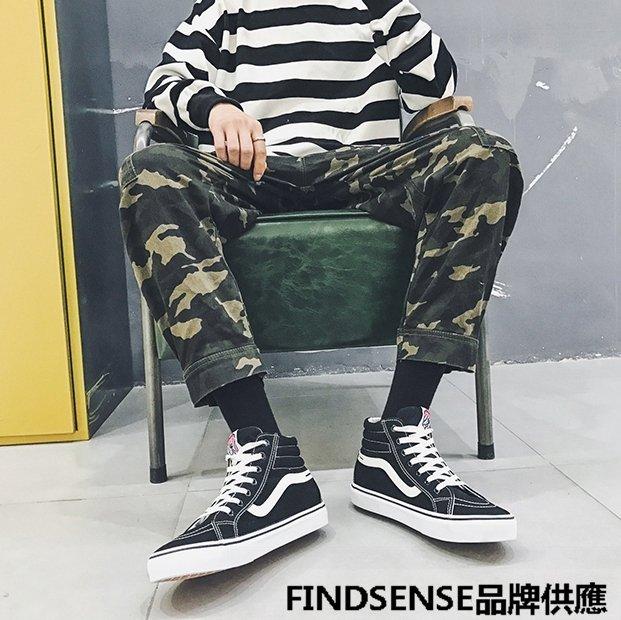 FINDSENSE品牌 四季款 新款 日本 男 高品質 個性  輕便運動 帆布鞋 舒適透氣 休閒高幫板鞋  潮流鞋子