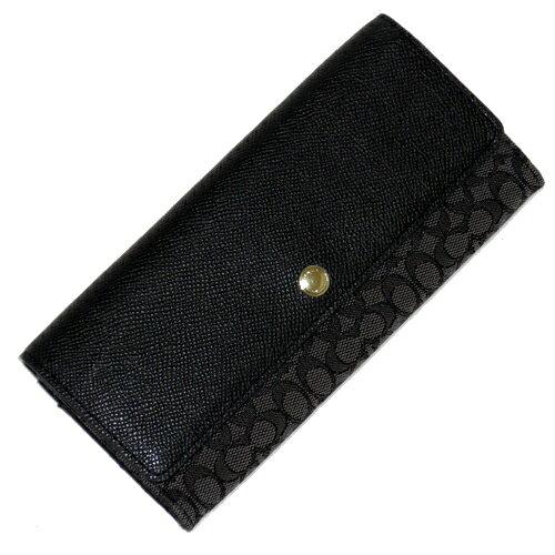 COACH 52575黑灰織布logo輕便長夾 1