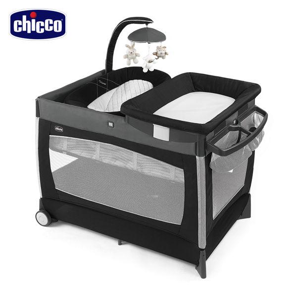 義大利【Chicco】LULLAB Baby多功能豪華遊戲床(洗鍊灰/黑)