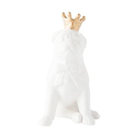 王冠波士頓犬白雲石擺飾