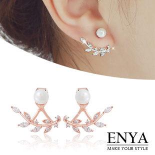 925銀 晶亮葉片珍珠耳環