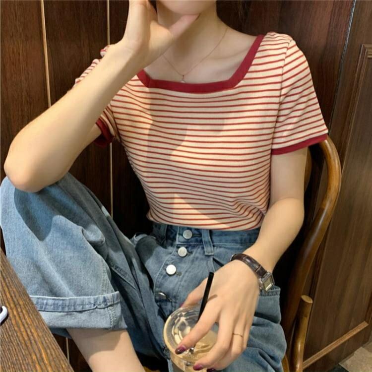 方領上衣 可鹽可甜小個子設計感小眾條紋t恤短袖女修身夏短袖鎖骨方領上衣 果果輕時尚