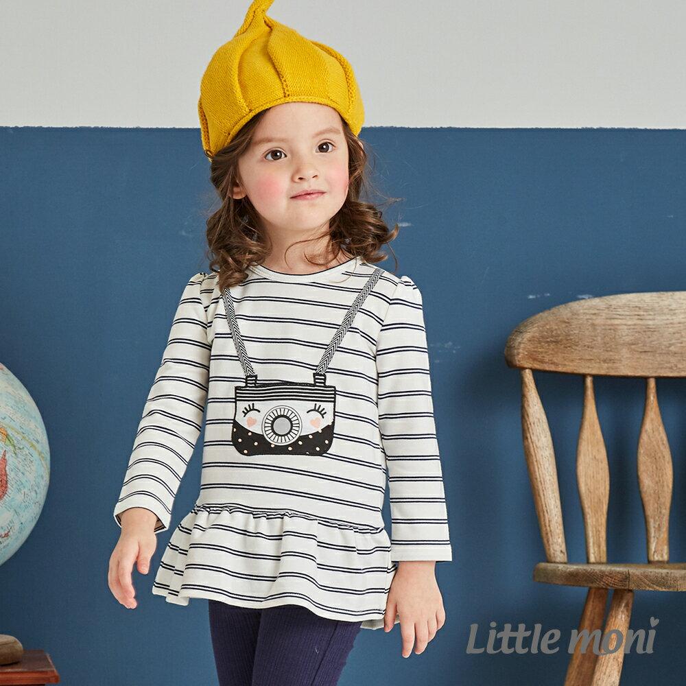 Little moni 荷葉襬相機印圖上衣-白色 1