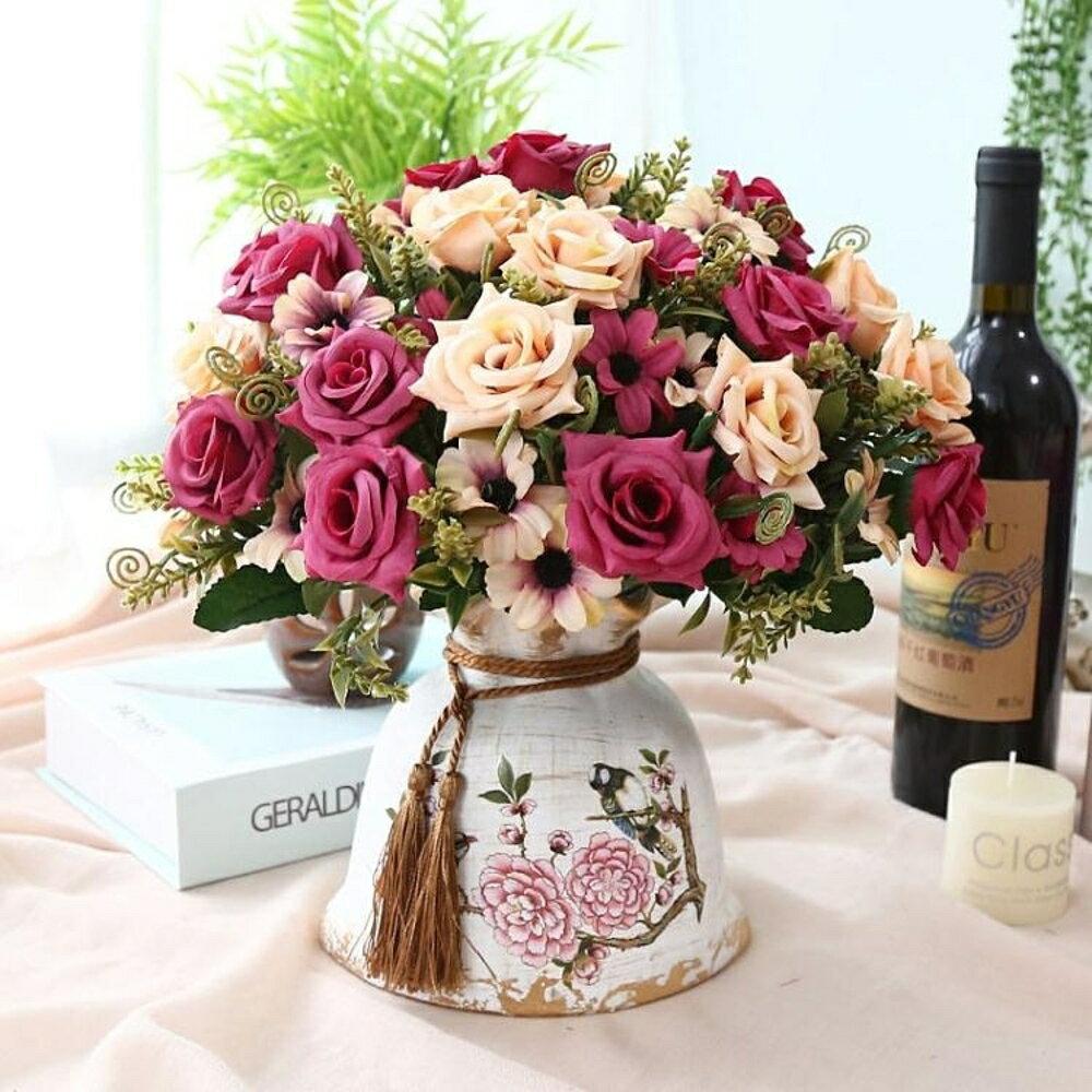 仿真花干花束客廳家居擺設盆栽擺件室內餐桌茶幾裝飾塑料假花   都市時尚
