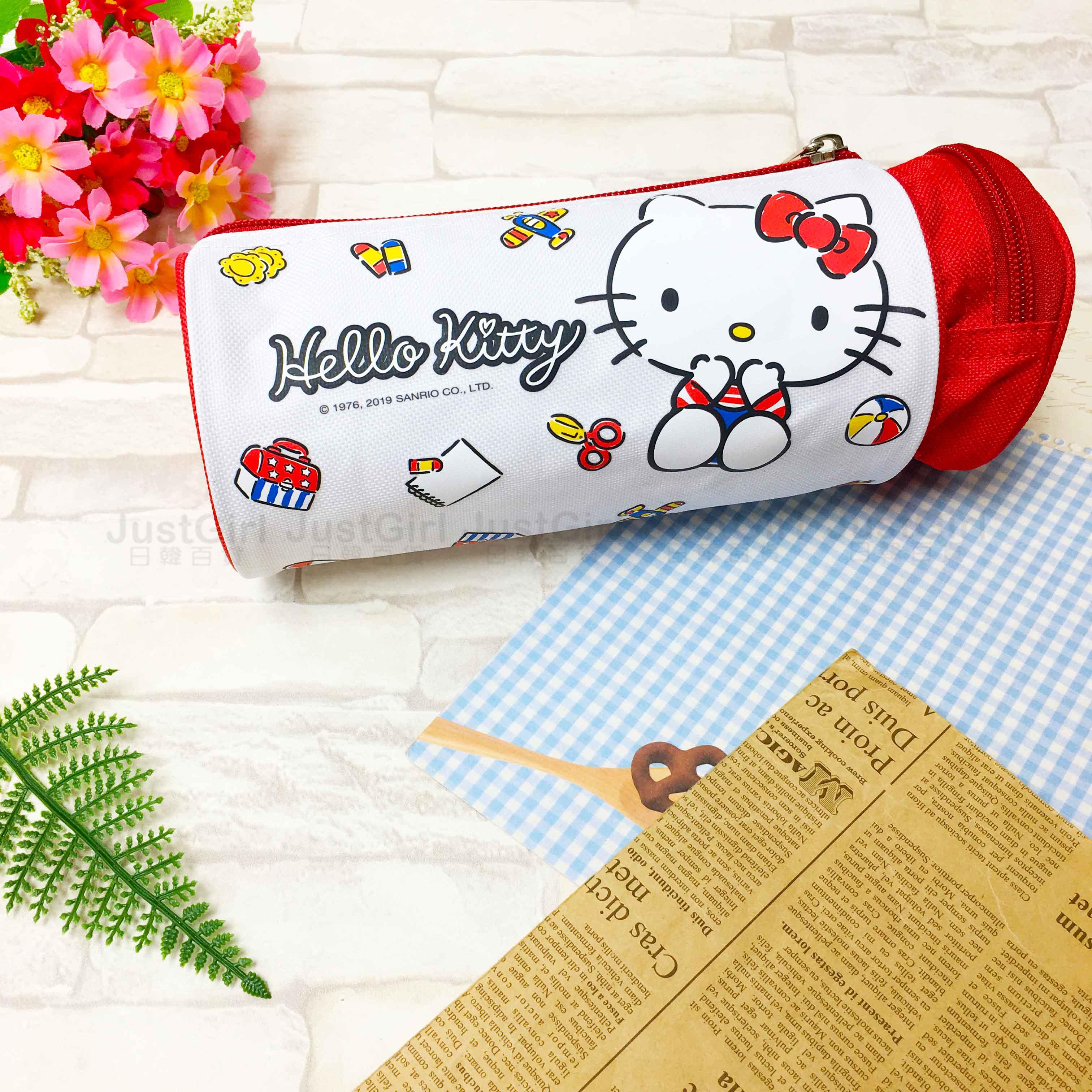 鉛筆盒 kitty 三麗鷗 筆袋 圓筒 雙格 收納