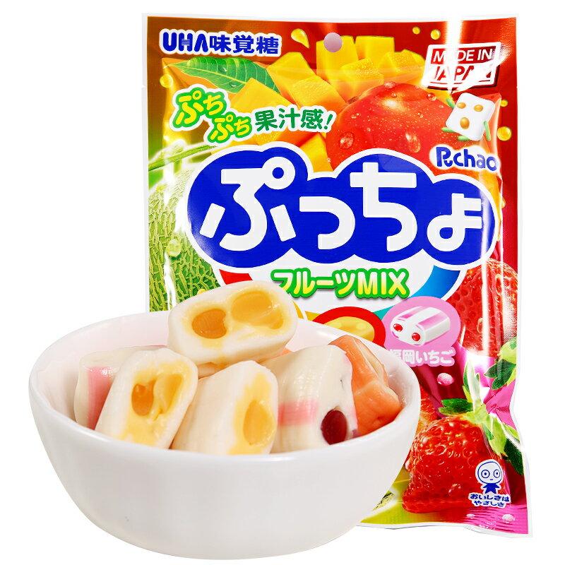 【UHA味覺糖】 Puccho噗啾3種類軟糖-綜合水果 90g 哈密瓜 / 芒果 / 草莓 日本進口糖果 3.18-4 / 7店休 暫停出貨 0
