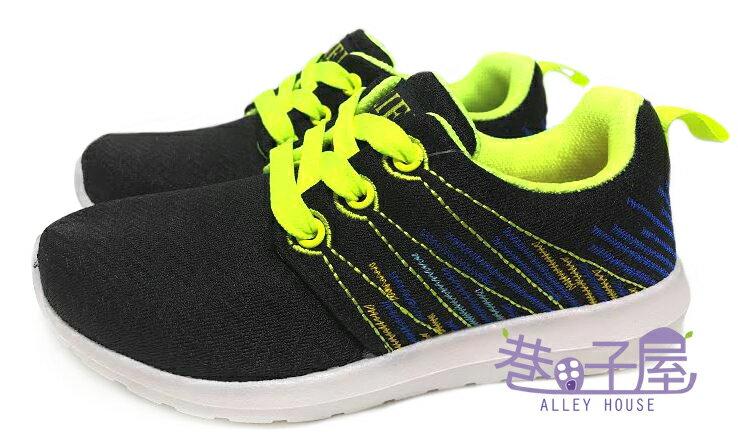 【巷子屋】男童波浪網布繡線運動慢跑鞋 [37074] 黑 MIT台灣製造 超值價$198