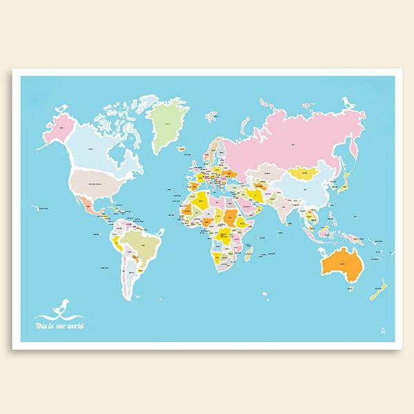 『摩達客』西班牙知名插畫家JudyKaufmann藝術創作海報掛畫裝飾畫-世界地圖與鳥(附Judy本人簽名)(不含木框)