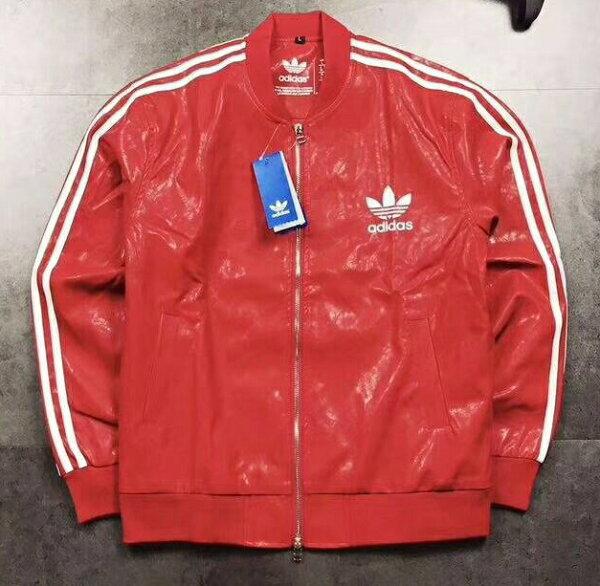 Adidas三葉草皮外套紅色