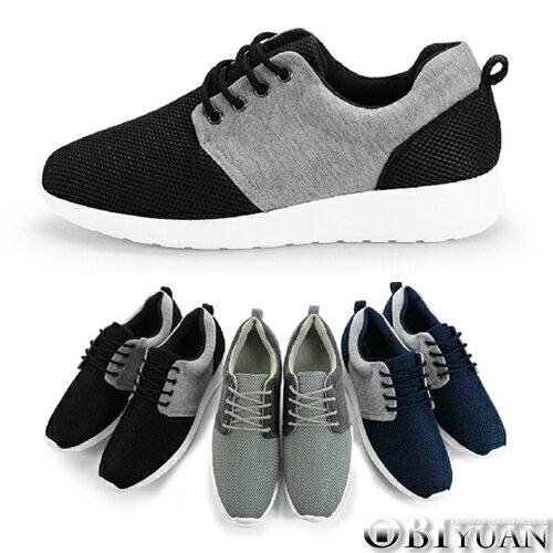 情侶款慢跑鞋~QRP53~OBI YUAN網孔透氣拼接布 休閒鞋 共3色