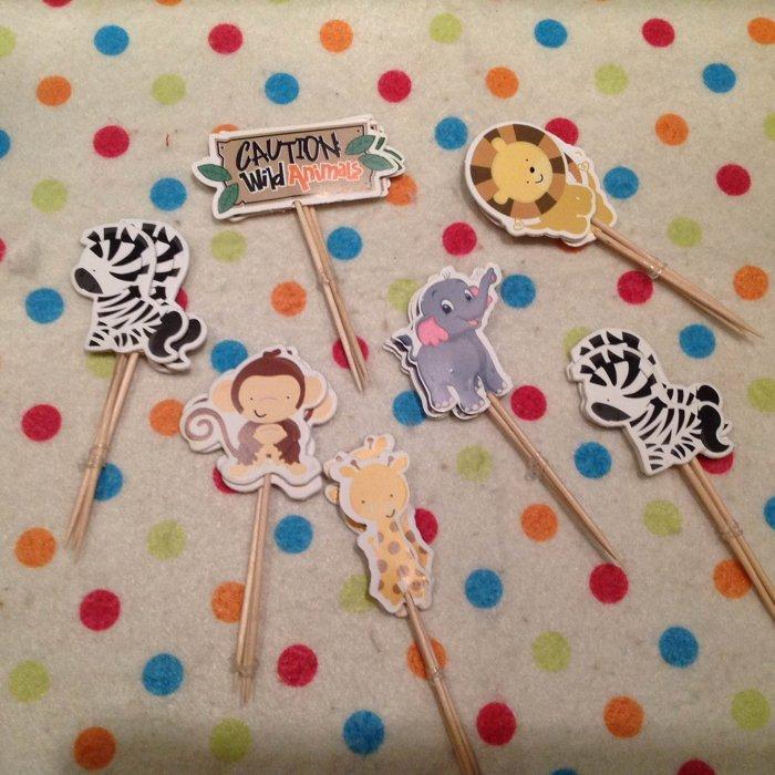 =優生活=動物園 猴子獅子斑馬長頸鹿大象烘焙蛋糕插牌 插籤 插旗 兒童生日派對裝飾用品 蛋糕插旗 24入