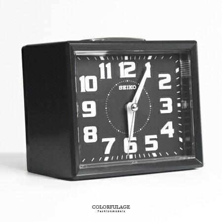 SEIKO精工鬧鐘 簡約方型黑色鈴聲鬧鐘 滑動式靜音秒針 夜光功能 柒彩年代【NV1746】原廠公司貨 - 限時優惠好康折扣
