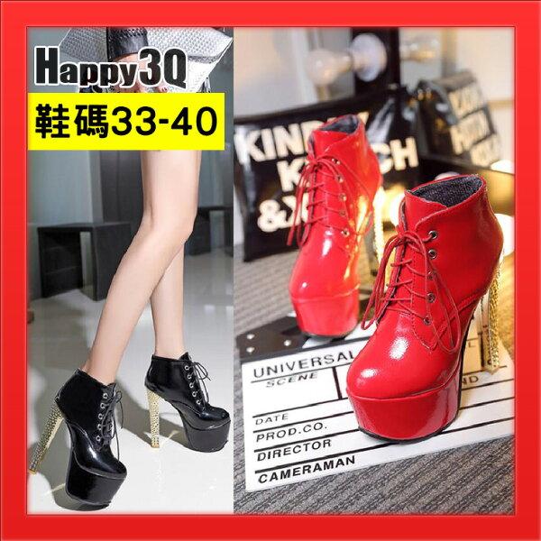 Happy Happy:女短靴粗跟高跟綁帶靴女鞋女靴金屬光澤造型短靴腳踝靴水鑽金跟-黑白紅銀33-40【AAA3493】