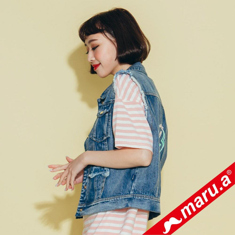 【maru.a】個性抽鬚單寧牛仔背心(2色)8322111 3