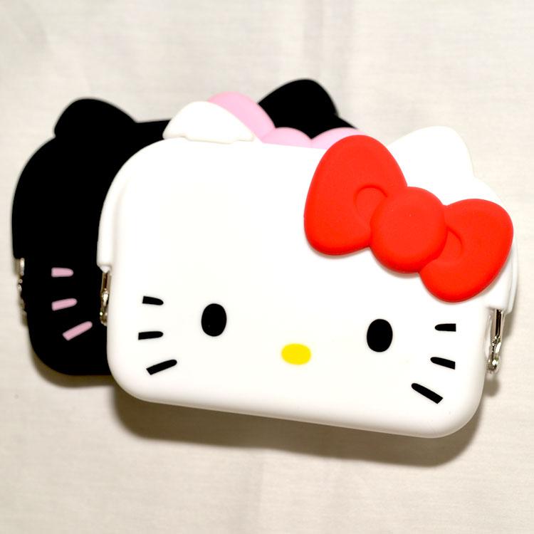 <br/><br/>  日本正版 mimi POCHI 白色 矽膠零錢包 Hello Kitty 凱蒂貓<br/><br/>