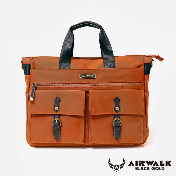AIRWALK- 【禾雅】頂級黑金系列 時光行者 筆電托特包/肩背包/手提包/公事包 - 大容量 - 時光橘