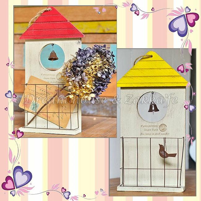 Zakka鄉村風仿舊木製教堂鈴鐺壁掛 收納盒 收納架 ~ 四色 ~~ 夢想家 家飾 ~