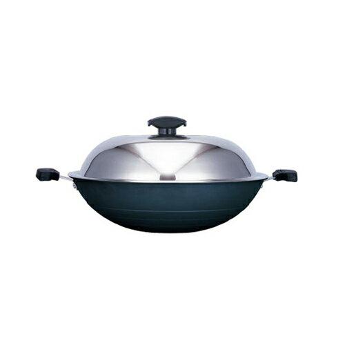 【寶馬牌】黑瓷釉不沾雙耳炒鍋 42cm (JA-A-008-042)