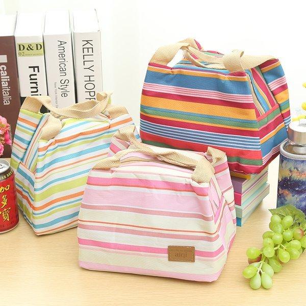=優生活=五色條紋加厚便當保溫袋便當包 保溫飯盒包 飯盒袋 冰包 母奶袋 保溫保冰小提袋