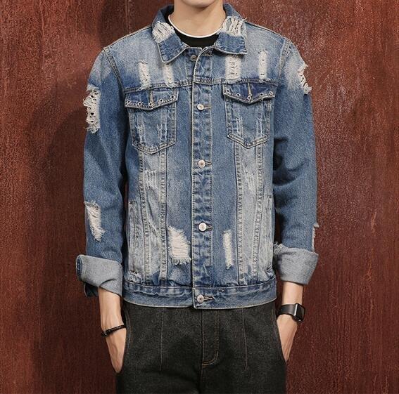 FINDSENSEZ1日系時尚潮男秋冬藍色破壞破洞牛仔外套夾克外套