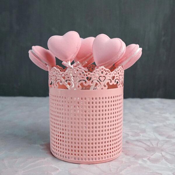 日式雜貨粉嫩蒂芬妮綠蕾絲邊鐵質收納筒筷筒筆筒單售