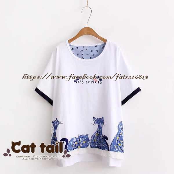 《貓尾巴》TS-0629小清新藍色貓咪印花短袖T恤(森林系日系棉麻文青清新)
