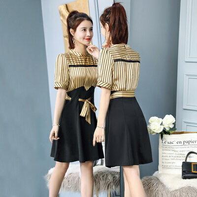 連身裙短袖洋裝-圓領條紋蝴蝶結假兩件女連衣裙2色73ri42【獨家進口】【米蘭精品】