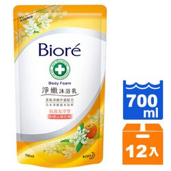 蜜妮Biore 淨嫩沐浴乳 抗菌光澤型-和歌山橙花香 補充包 700ml (12入)/箱