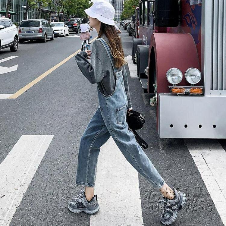 背帶褲女直筒韓版寬松秋季新款顯瘦修身小個子網紅學院風潮