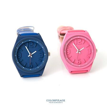 手錶 立體浮雕數字腕錶 中性款不分男女 皮革錶帶 柒彩年代~NE1651~