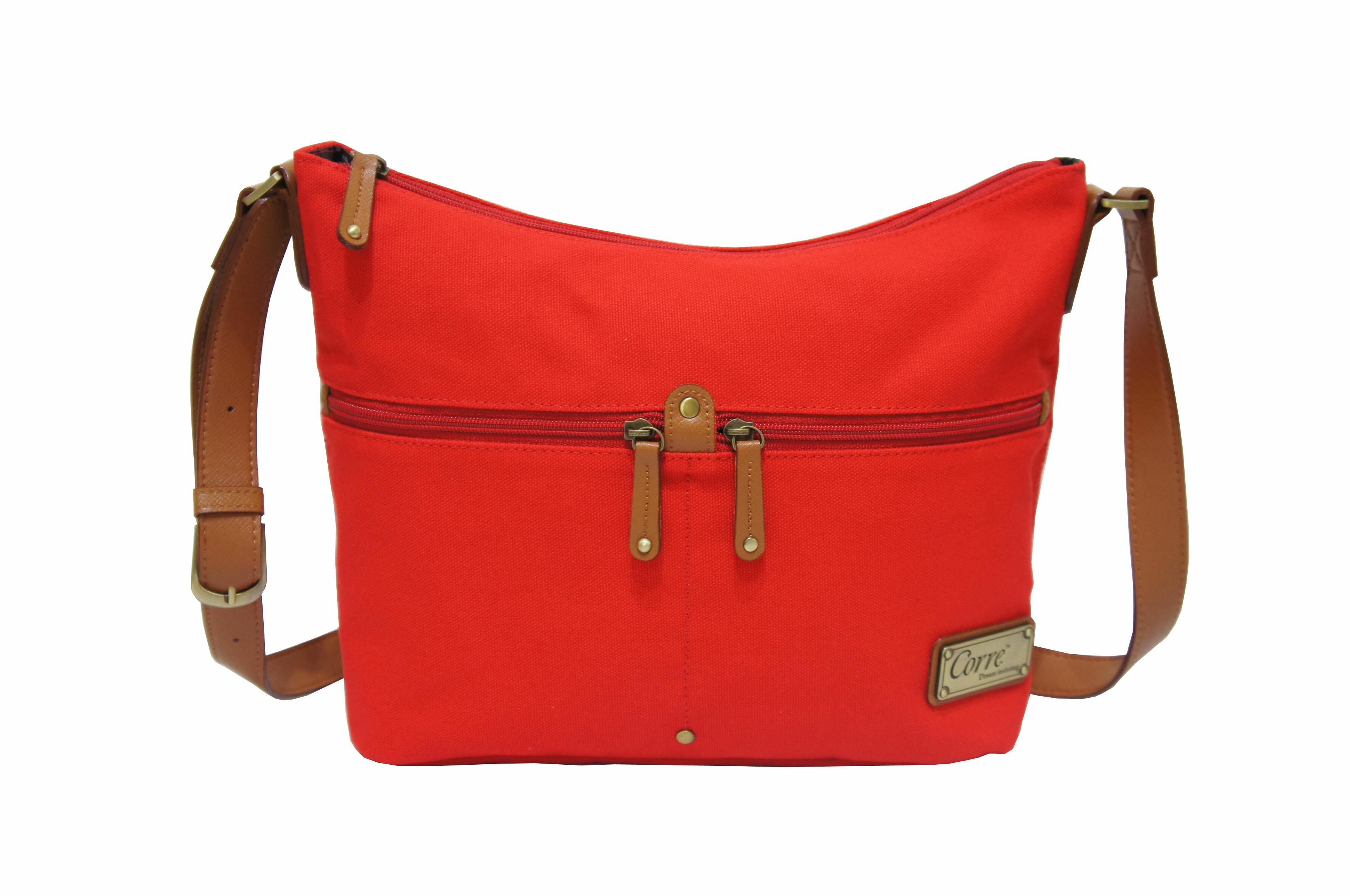 CP024帆布手提肩背包共2色 紅 / 馬卡龍綠 0