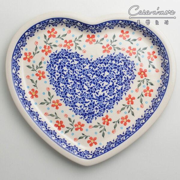 波蘭陶藍印紅花系列愛心造型餐盤陶瓷盤菜盤水果盤點心盤波蘭手工製