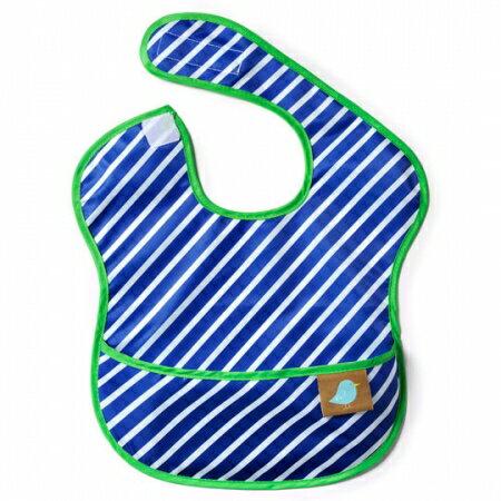 ★衛立兒生活館★美國 Jaq Jaq Bird 寶寶餵兜兜/圍兜 (藍色斜紋)