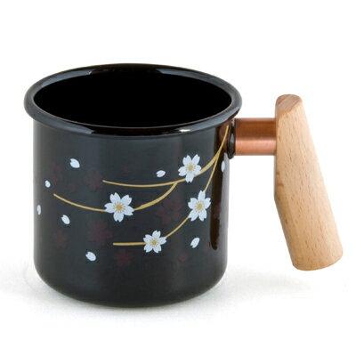 ├登山樂┤臺灣Truvii木頭琺瑯杯(夜櫻)(把手與銅環樣式隨機出貨)(感溫變色款)400ml