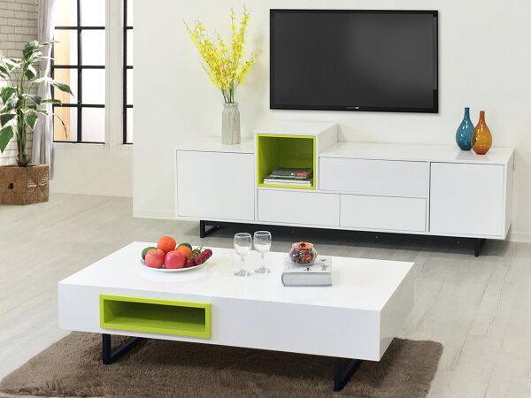 !新生活家具!《珀莉》家具組電視櫃+茶几兩套組收納櫃長形茶几鐵腳北歐現代綠色黑色