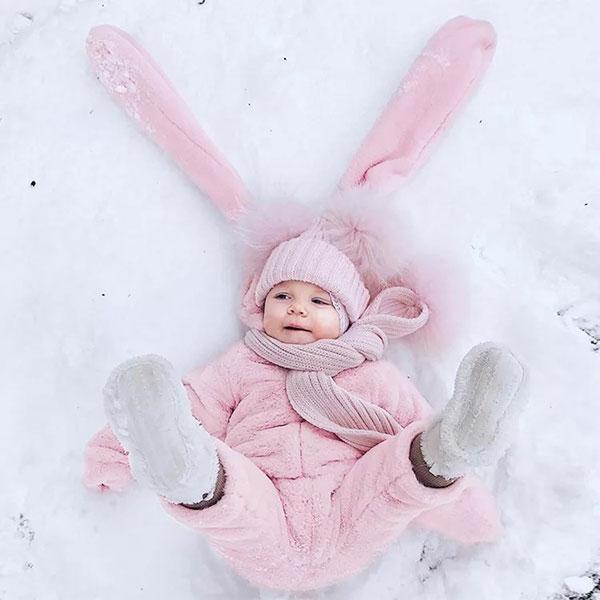 ins 粉紅 長耳朵 兔子 連體衣 法蘭絨 絨毛 長袖 長褲 爬服 包屁衣 哈衣 外套 寒流 保暖 寶寶 童 歐美 ANNA S.