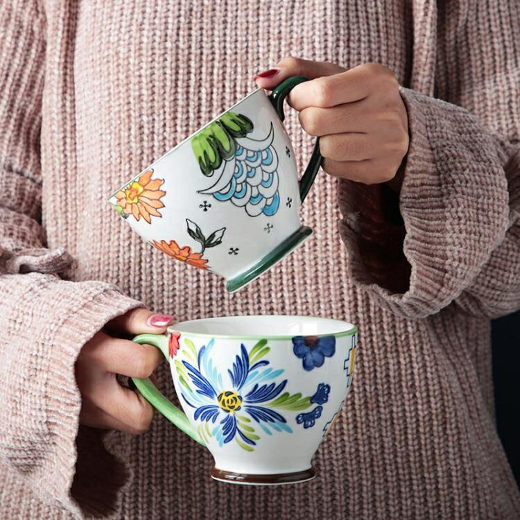 馬克杯 北歐手繪陶瓷早餐杯子創意個性潮流大容量咖啡燕麥片馬克杯 【古斯拉】