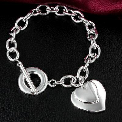 ~925純銀手鍊 手環~可愛 雙心氣質母親節生日情人節 女 73av163~ ~~米蘭 ~