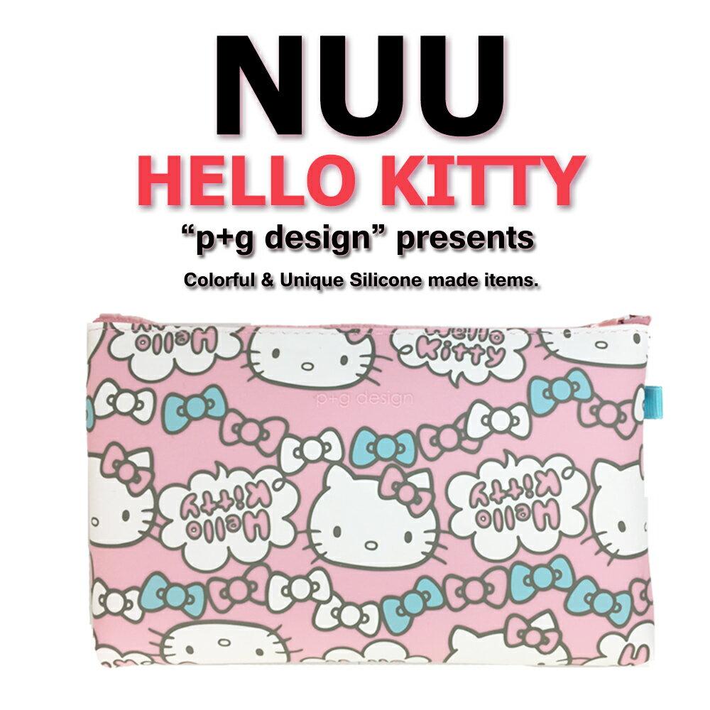 日本空運進口 p+g design NUU X HELLO KITTY 2016 繽紛矽膠拉鍊零錢包 - 粉色蝴蝶結款 1