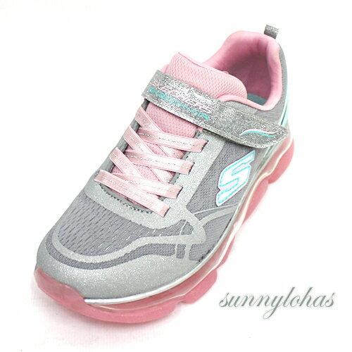 SKECHERS(童)SKECHAIR系列氣墊鞋童鞋運動鞋魔鬼氈-81805LGYPK粉[陽光樂活]