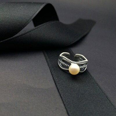 925純銀戒指珍珠銀飾~日韓 簡約甜美生日情人節 女飾品73ic53~ ~~米蘭 ~