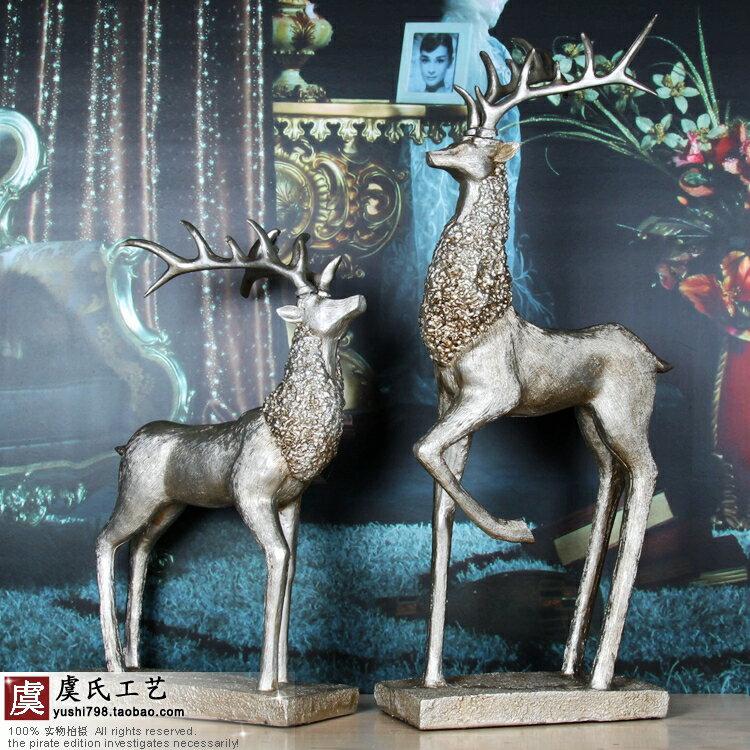 麋鹿動物擺件 歐式時尚樹脂 家居樣板房書房軟裝飾品 喬遷禮品1入