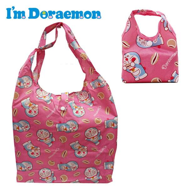 粉色款【日本正版】哆啦A夢摺疊購物袋環保袋手提袋防潑水小叮噹DORAEMON三麗鷗-151783